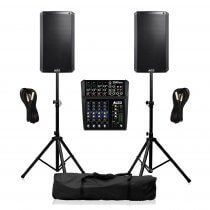 Alto TX212 PA System 1200W Sound Speaker System inc Mixer, Cables & Stands