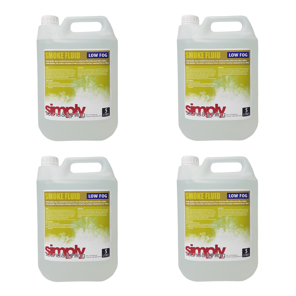 4x Simply Sound & Lighting High Quality Low Smoke Fluid (5L)