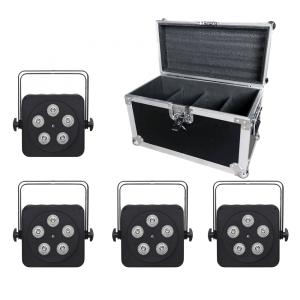 LEDJ 5Q5 LED Uplighter Slim Par Can RGBW Black DJ Disco Venue Wedding Bundle