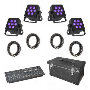 4x LEDJ Slimline 7 HEX 6 Uplighters inc. DMX Controller, Flightcase and Cables