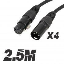 4x Pulse 3-Pin XLR Plug to Socket Patch Leads 2.5m