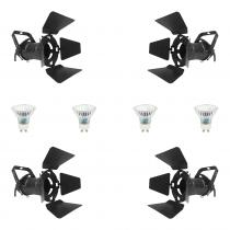 4x Pulse PAR16 240V Spotlight (Black) inc. Lamps and Barndoors