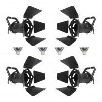 4x Pulse PAR16 12V Spotlight (Black) inc. Lamps and Barndoors