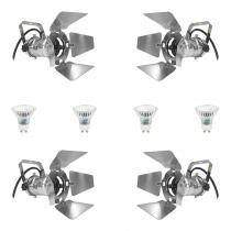 4x Pulse PAR16 240V Spotlight (Chrome) inc. Lamps and Barndoors
