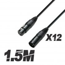 12x Roar 1.5M DMX Cable XLR Female - XLR Male Black 110 Ohm 150cm