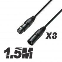 8x Roar 1.5M DMX Cable XLR Female - XLR Male Black 110 Ohm 150cm