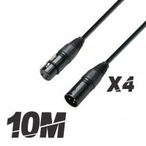 4x Roar 10M DMX Cable XLR Female - XLR Male Black 110 Ohm 1000cm
