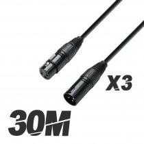 3x Roar 30M DMX Cable XLR Female - XLR Male Black 110 Ohm 3000cm