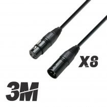 8x Roar 3M DMX Cable XLR Female - XLR Male Black 110 Ohm 300cm