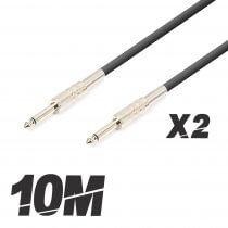 2x Roar 10m Jack to Jack 6.3mm Speaker Cable