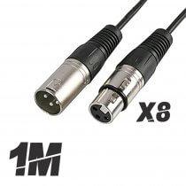 8x Roar 1M Microphone Cable XLR Female - XLR Male Black 100cm