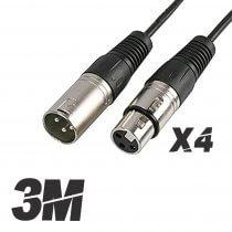4x Roar 3M Microphone Cable XLR Female - XLR Male Black 300cm