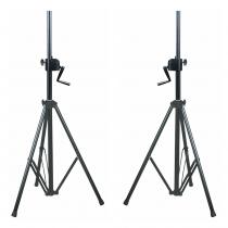2x NJS Heavy Duty Tripod Speaker Stand with Winch (SWL: 60 kg)