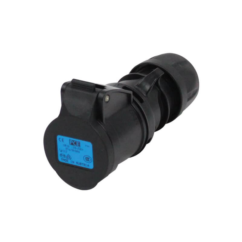 16A Socket 3P Coupler Black Heavy Duty 16 Amp Stage Lighting Power