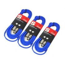 3x Stagg XLR Cable (6m Blue)
