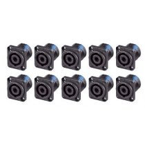 10x Neutrik NL4MP 4-pole Speakon square chassis socket
