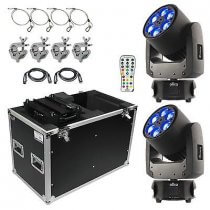 2x Chauvet DJ Intimidator Trio inc. Flightcase, Remote, Safety Wire, Clamps and Cables