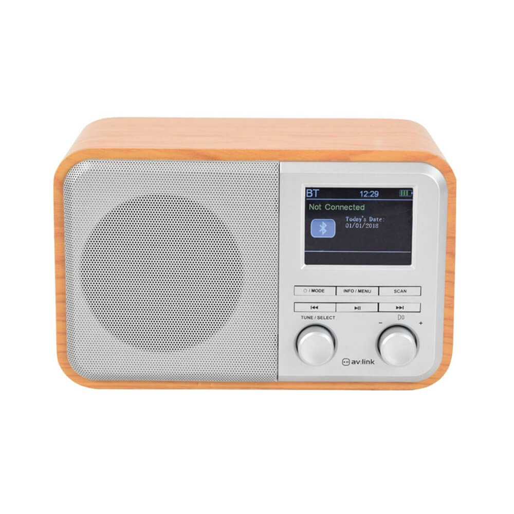 Deco: Rechargeable DAB+ Radio with Bluetooth - Light Wood