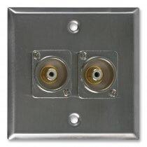 Pro-Signal Steel AV Wall Plate with 2x RCA Sockets