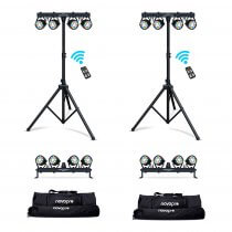 2x NovoPro Partybar 100 LED Lighting System inc. Stands & Bags (Bundle)