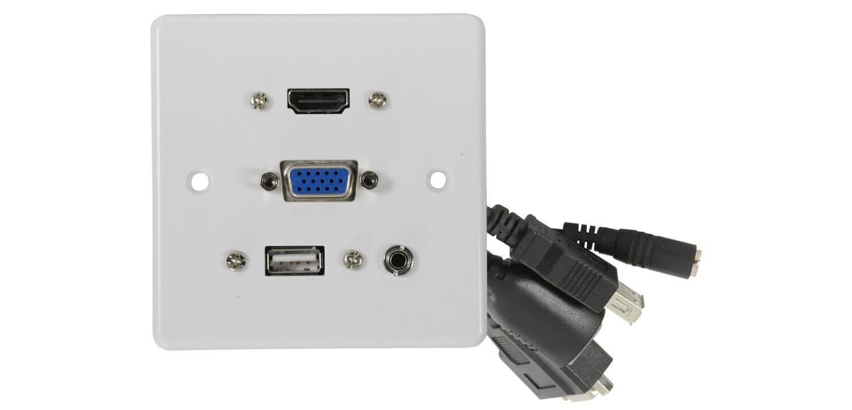 av:link Multimedia Wallplate with HDMI, VGA, USB and 3.5mm Audio Sockets