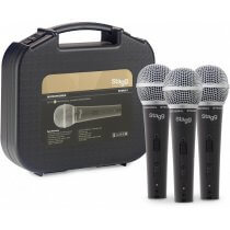 Stagg SDM50-3 - Set of 3 Metal Heavy Duty Dynamic Vocal Microphones