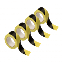 4x Hazard Warning Tape Self Adhesive Roll Marking Safety Black Yellow 50mm x 33M