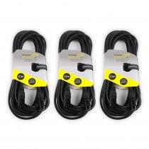 3x StageCore SCDMX10 10M 3 Pin XLR Male - 3 Pin XLR Female DMX Cable Lead DJ Disco