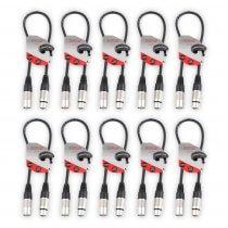 10x Stagecore Female XLR - Male XLR Microphone Cable 0.5m Black
