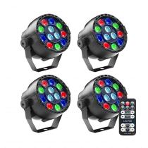 4x Stagg SLI-BAT XS-3 Battery Powered Par Can 12 x 1W LED Uplighter inc Remote