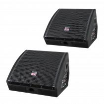2x Studiomaster Sense 12A 600W Powered Monitor Speaker Wedge Foldback Band Bundle
