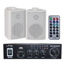 LTC MFA-1200 Stereo HiFi Amplifier & 2 x White Speaker 100W Sound System