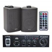 LTC MFA-1200 Stereo HiFi Amplifier & 2 x Black Speaker 100W Sound System
