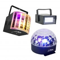 Party Light Sound 3 Pack LED Light Effects Derby Mirrorball Strobe DJ Disco Party Lighting