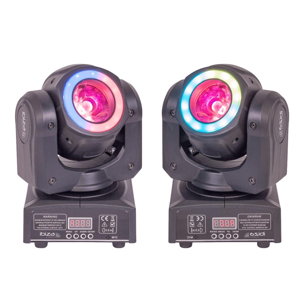 2x Ibiza Light MHBEAM40-FX LED Moving Head Beam 40W