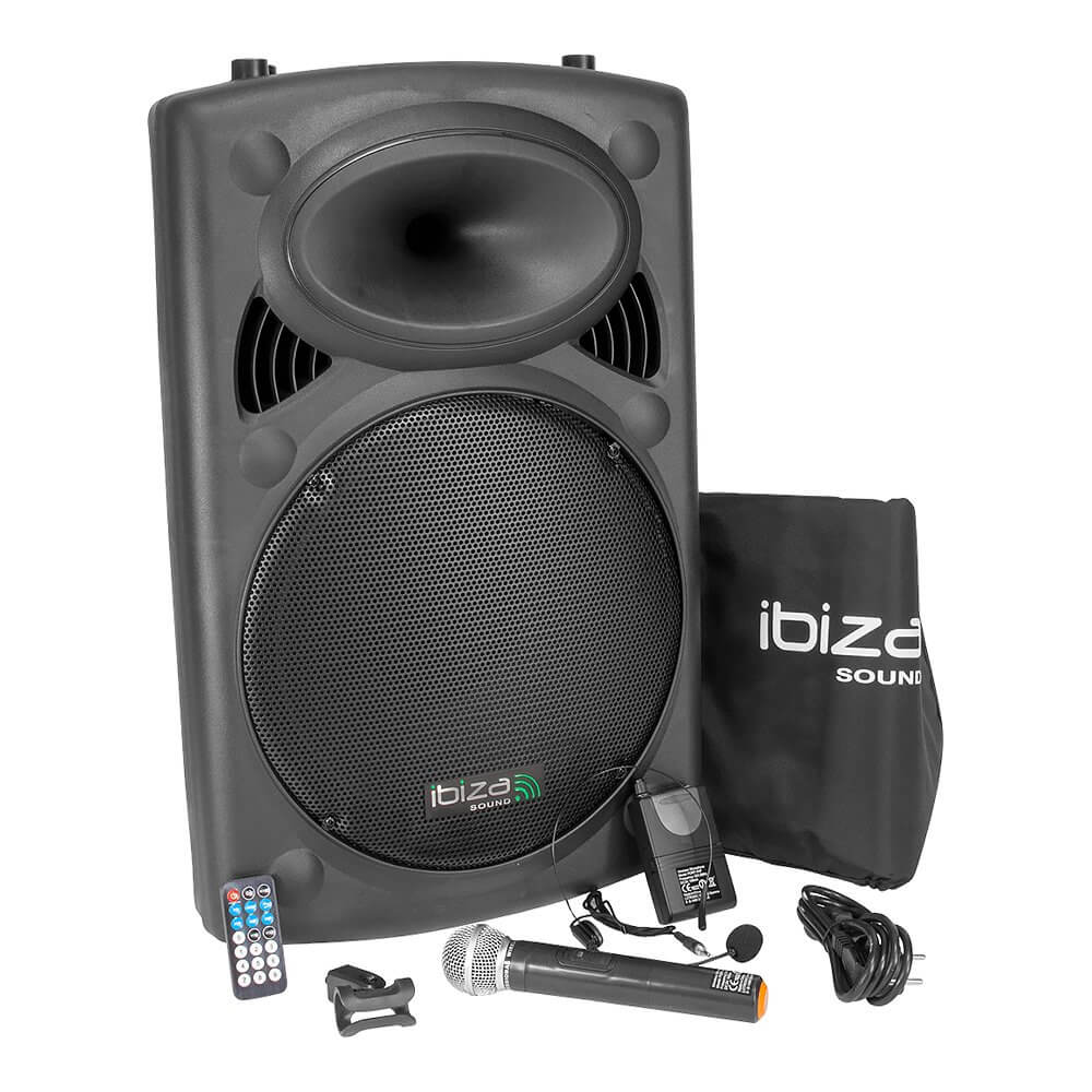 "Ibiza Sound PORT15VHF-BT Portable 15"" 800W Bluetooth PA System inc. Wireless Mics"