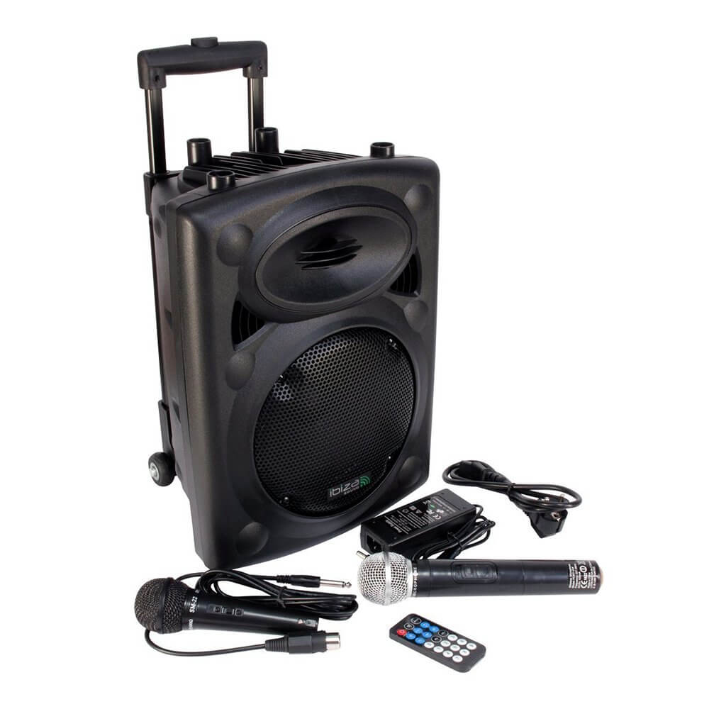 "Ibiza Sound Portable 8"" 400w Battery Powered Bluetooth PA System inc Wireless Mics"