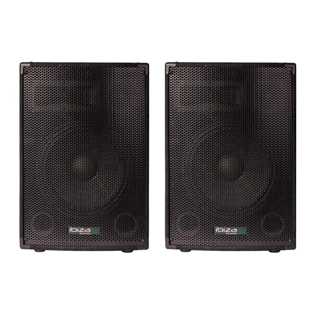 """2x Ibiza Sound DISCO-10B 10"""" 400W 3 Way PA Speaker DJ Disco Sound System"""