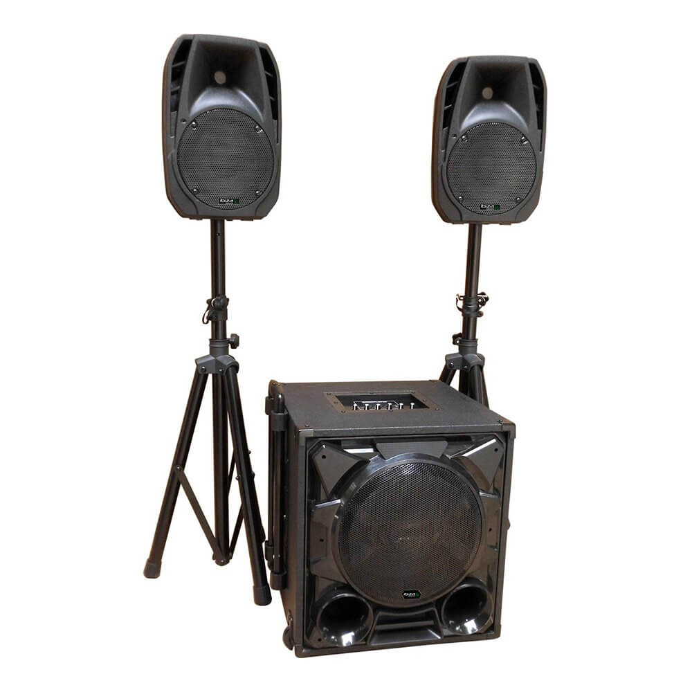 Ibiza Sound CUBE1100-BT 1100W 2.1 Sound System PA Bluetooth DJ Disco Package