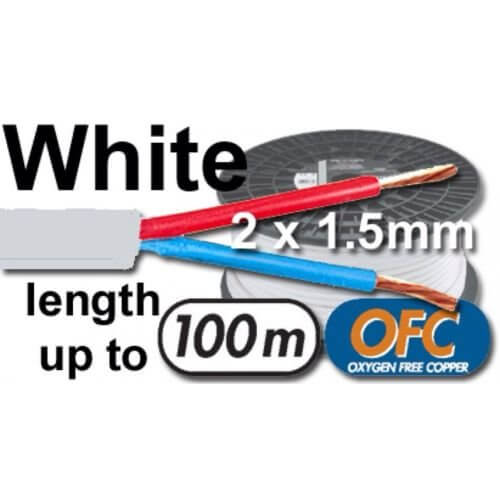 Speaker Cable White Install System 2 X 1.5mm Core 100m Roll Reel