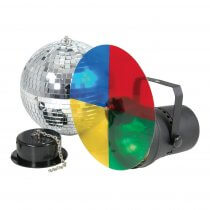 QTX Disco Light Set 3 Mirrorball Package 300mm Mirror Ball Inc Pinspot & Motor
