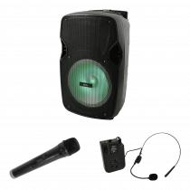 "QTX PAL10 10"" Portable Speaker inc. Wireless Handheld and Headset Mic"