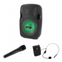 "QTX PAL8 8"" Portable Speaker inc. Wireless Handheld and Headset Mic"
