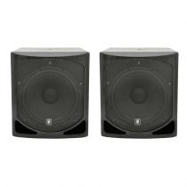 """2x QTX QL15B Active Subwoofer 15"""" Bass Bin Speaker DJ Disco 1000W"""
