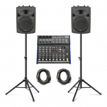 """2x QTX QR10K 10"""" Active PA Speakers inc. Stands, Mixer and Cables"""