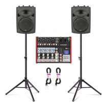 "2x QTX QR10K 10"" Active PA Speakers inc. Stands, Mixer and Cables"