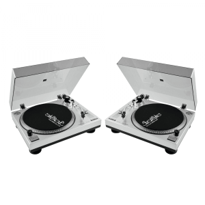 2x Omnitronic BD-1350 Turntable Silver Belt Drive inc Dust Cover DJ Disco Vinyl