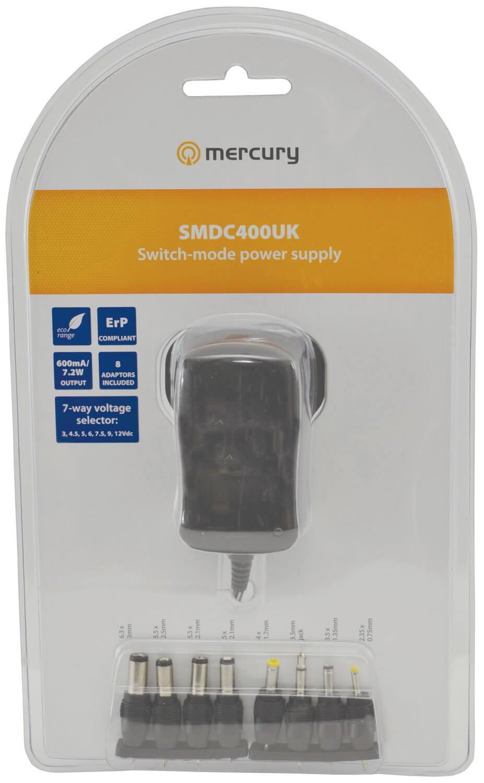 Mercury UK Switch Mode Power Supply 600mA 3V - 12V Multi Pin PSU