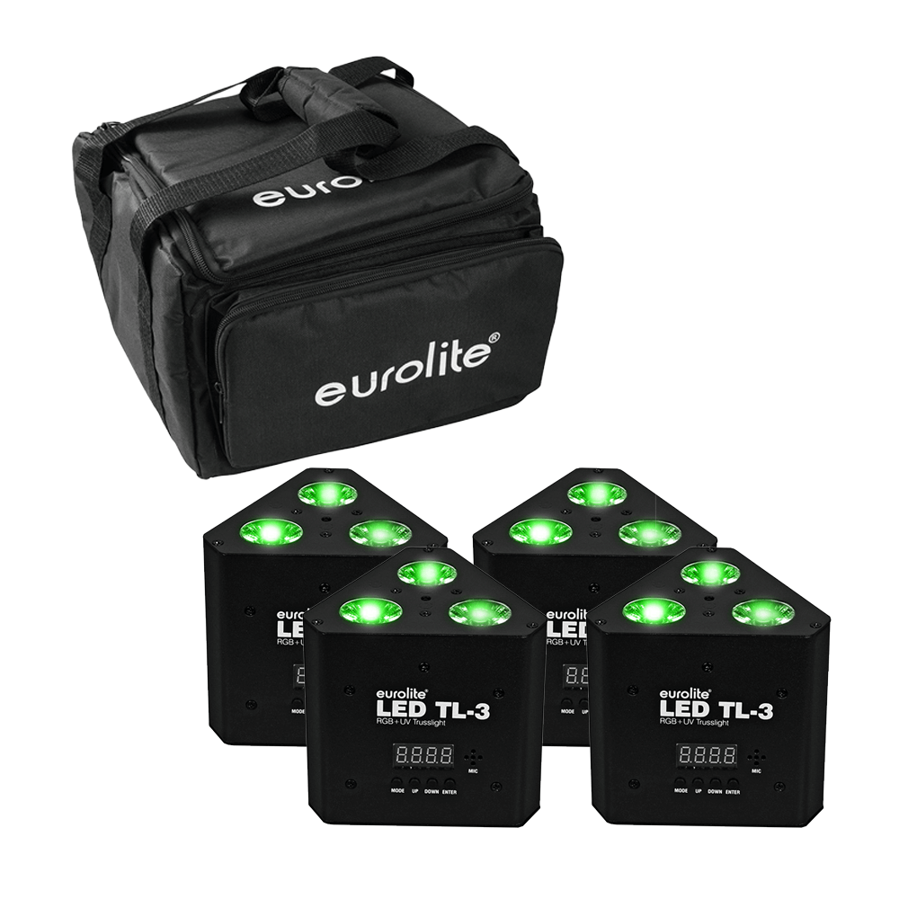 Eurolite TL-3 RGB+UV LED Wedge Triangle Truss Uplighter DJ Disco Lighting Bundle