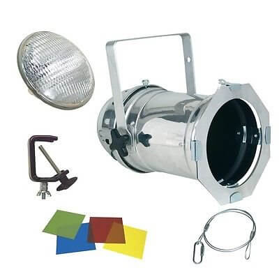 PAR 64 500w Par Can Package inc Lamp, Hook, Clamp & Gel Chrome